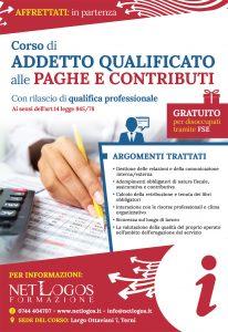 Volantino corso contabilità aziendale - paghe e contributi a Terni (Umbria)